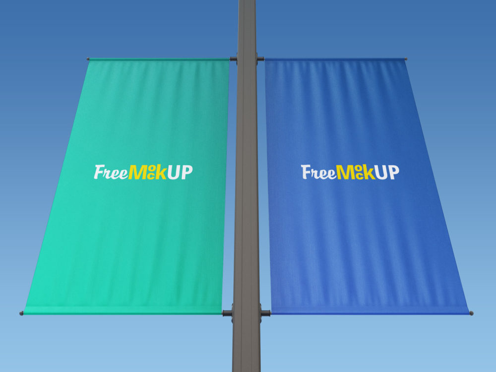 Rectangle Lamp Post Banner Mockup