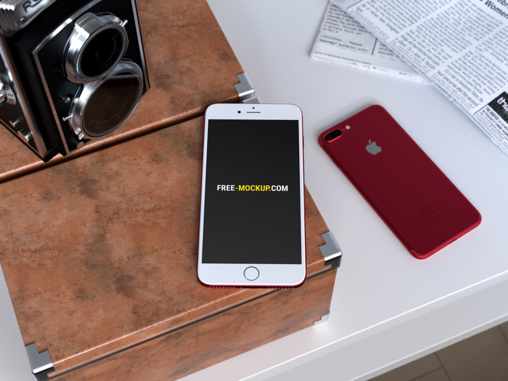 Red iPhone 7 on Desk Mockup
