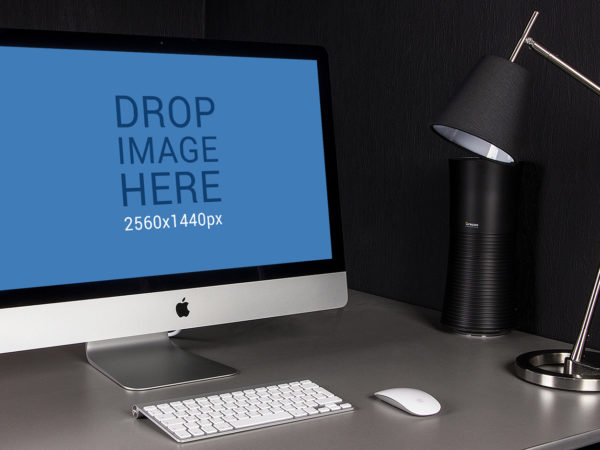 This Free iMac 27 inch Workspace Mockup