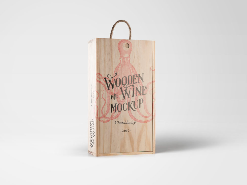 Free Wine Wood Box Mockup
