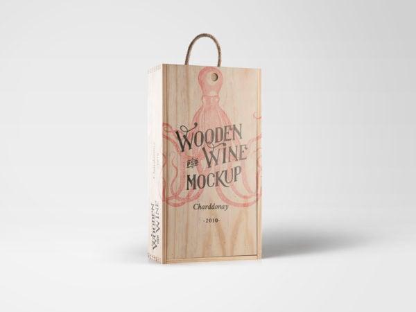 Free Wine Wood Box Mockup