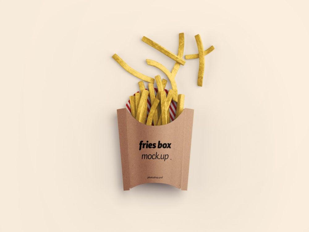 Fries Box Packaging Mockup PSD