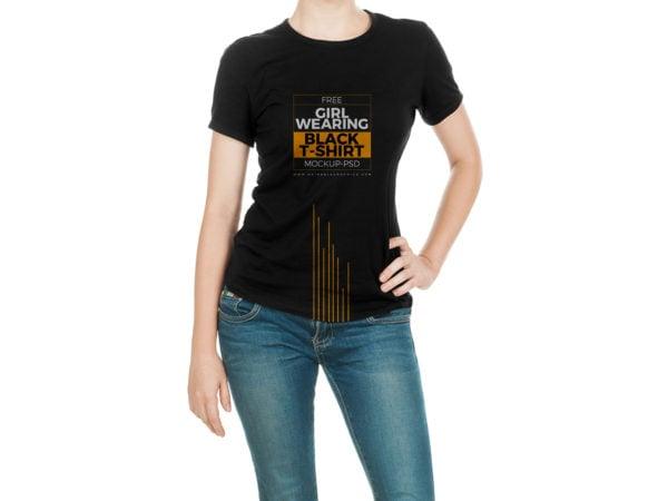 Girl Black T-Shirt Free Mock-Up PSD Template