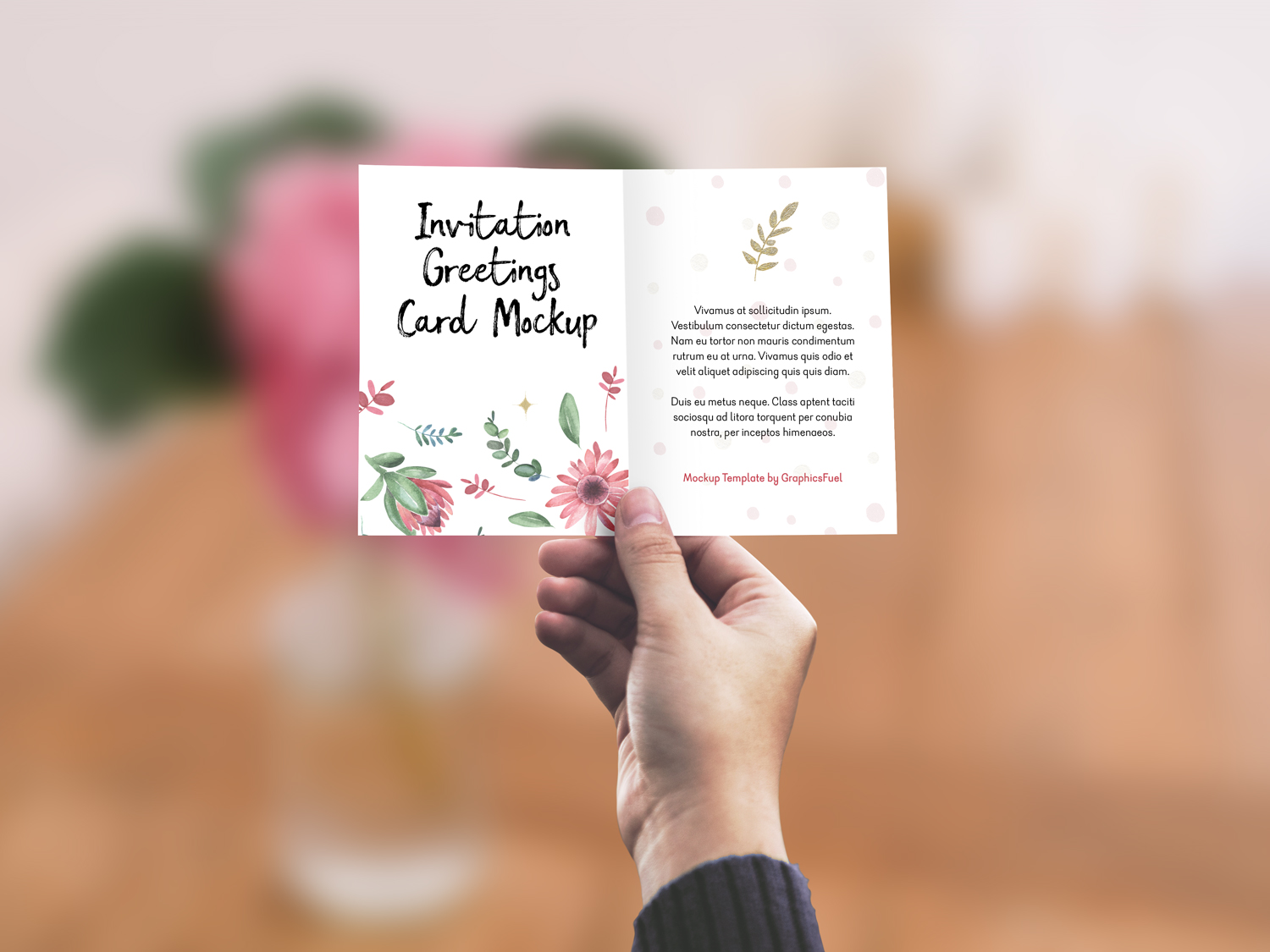 Invitation Greeting Card In Hand Mockup Free Mockup