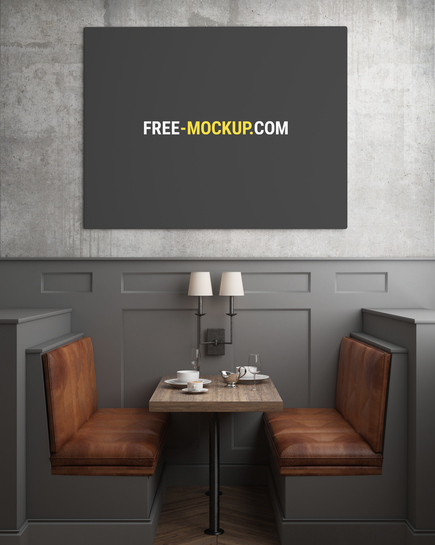 Restaurant Poster Painting Mockup Free Mockup