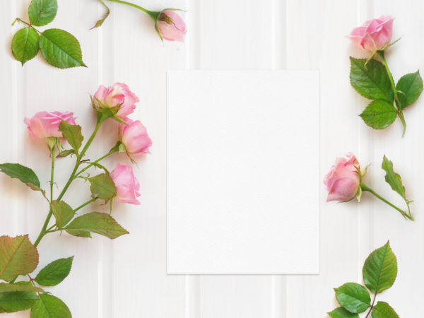 Wedding Card Mockup with Pink Roses