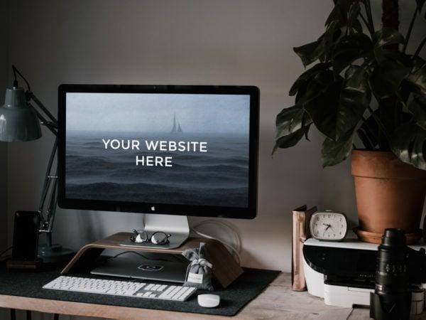 Workspace iMac Free Mockup