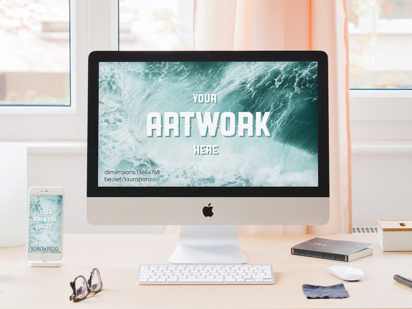iMac Desktop and iPhone Mockup