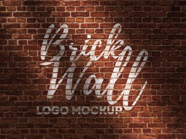 Brick Wall Logo Mockup Free