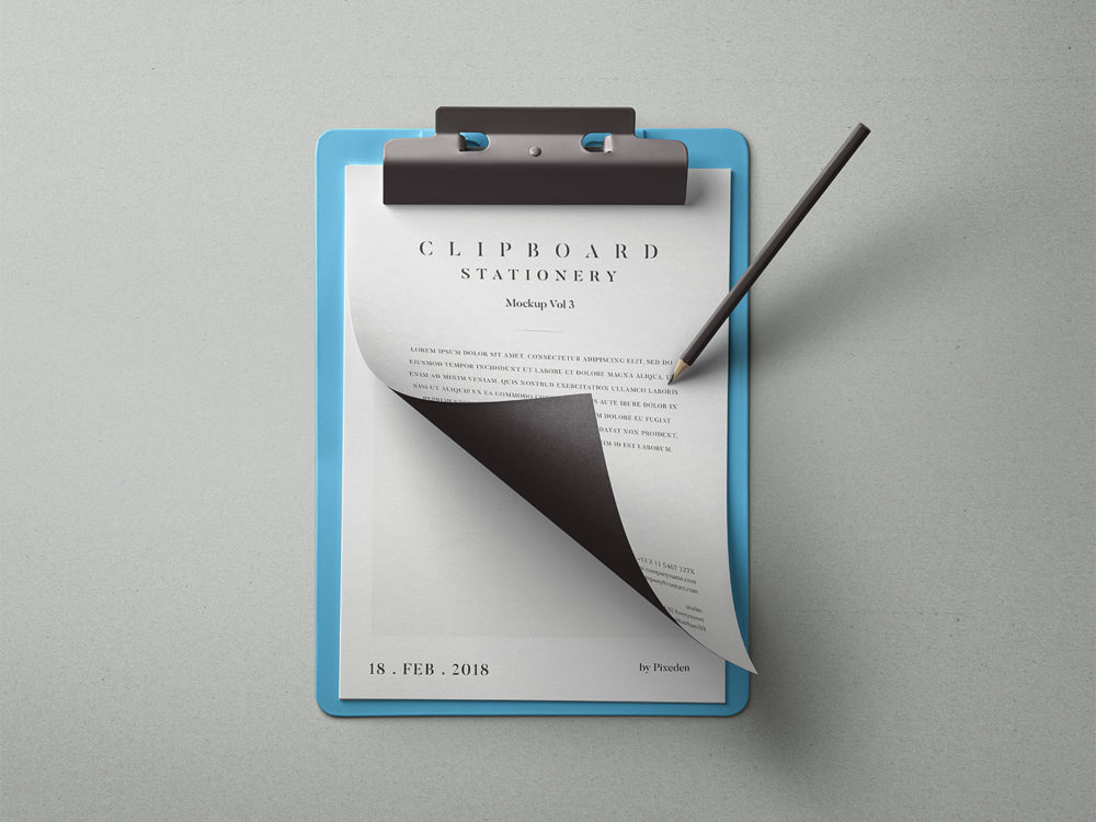 Clipboard Stationery Mockup Free PSD