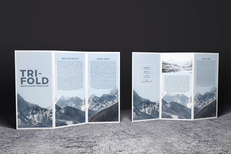 Free-2-Sided-Tri-Fold-Brochure-Mockup-PSD | Free Mockup