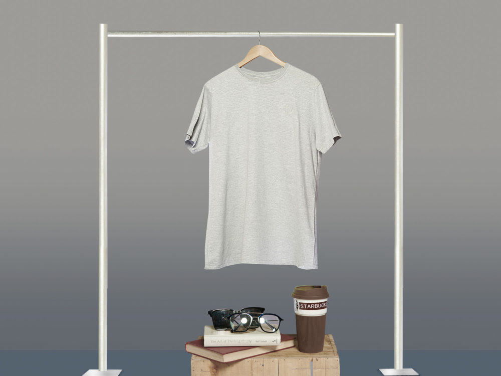 Free Grey Hanging T-Shirt Mockup