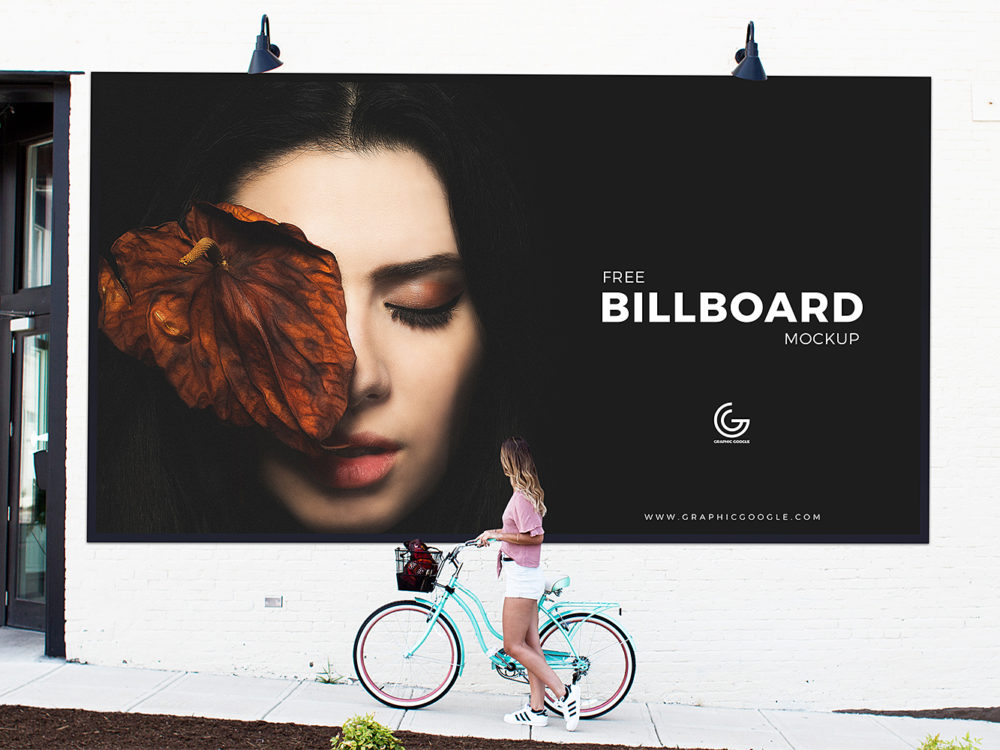Girl Watching Billboard Free Mockup