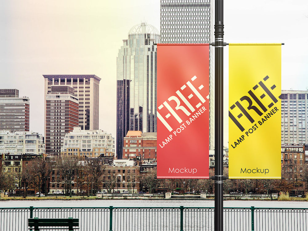 Lamp Post Banner Mock-Up Free