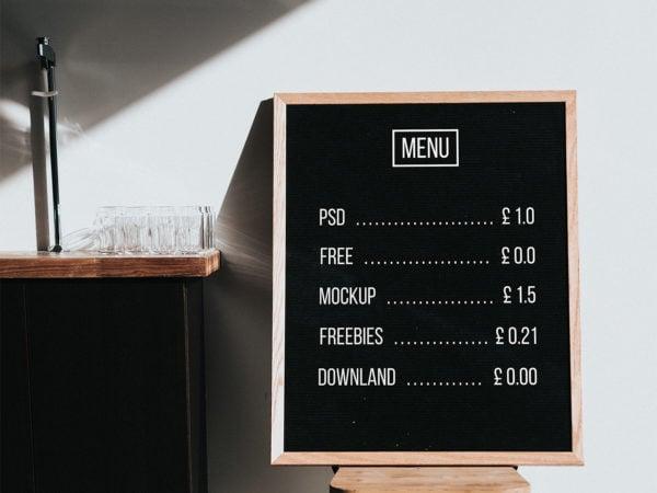 Menu Board Mockup Free