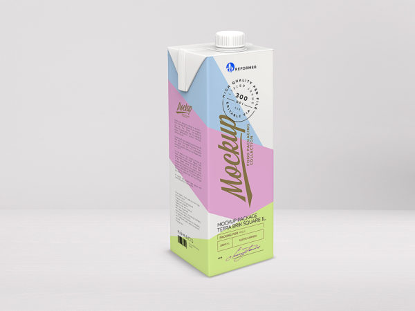 Package Mockup Tetra Pack Brik Square 1l