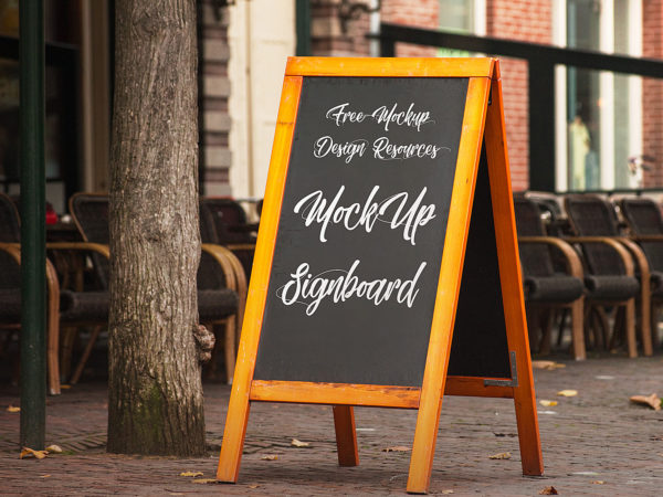 Signboard Free Mockup. Chalkboard Mockup