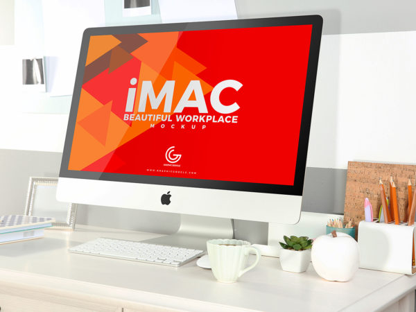 Workplace iMac Mock Up Free