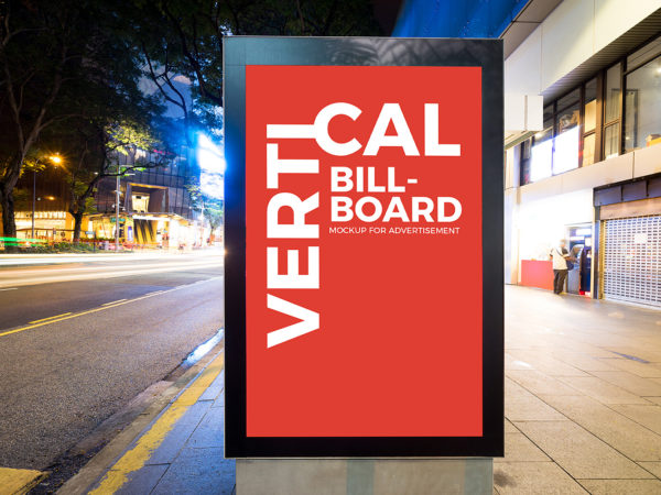City Street Vertical Billboard Mockup Free