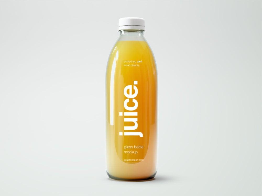 Small Glass Bottle Juice Mockup