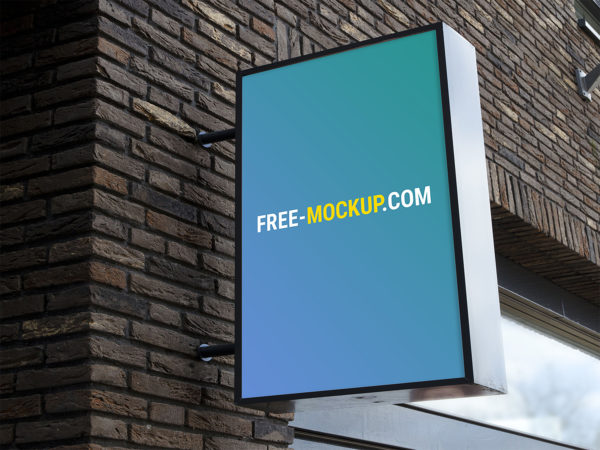 Outdoor Advertising Wall Sign Board Mockup