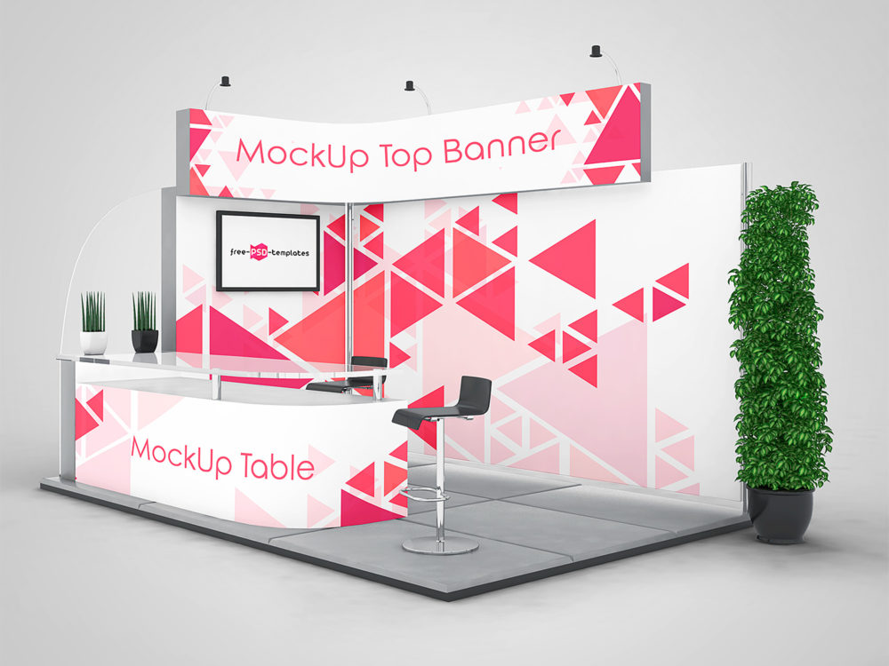 3 Exhibition Stand Mock-ups Free in PSD