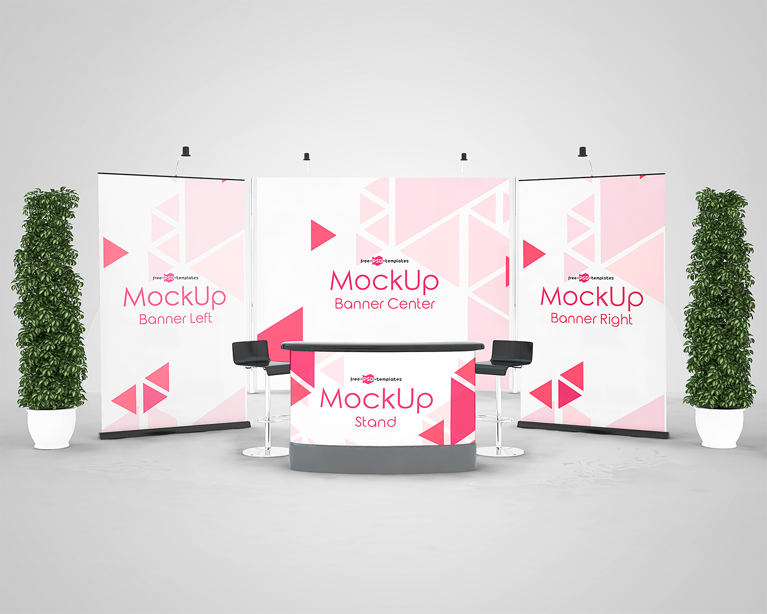 Exhibition Stand Design Mockup Free : Exposition stand mockup composition download free vector art