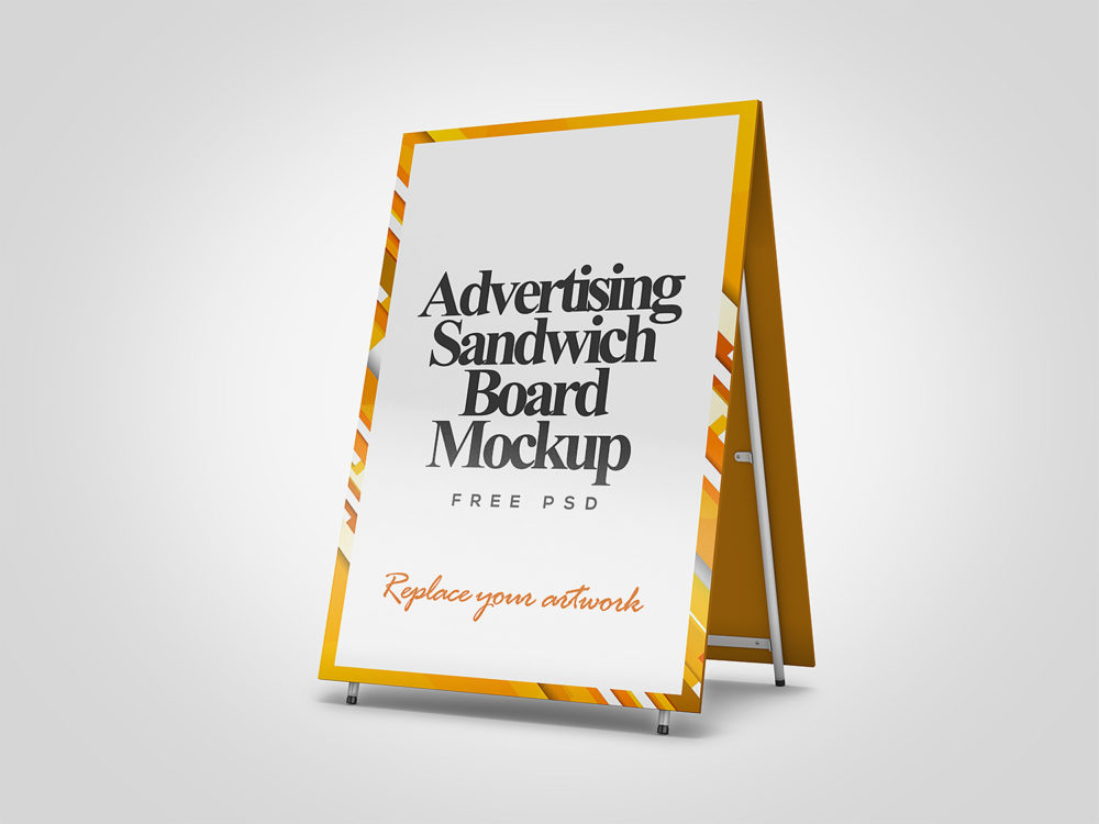 Advertising Sandwich Board Mockup PSD Free