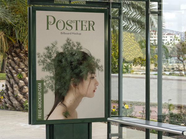 Bus Stop Poster City Light Mockup Free