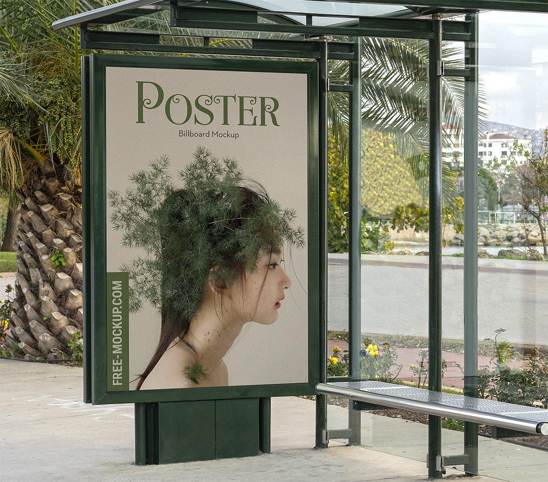 Bus Stop Poster City Light Mockup Free | Free Mockup