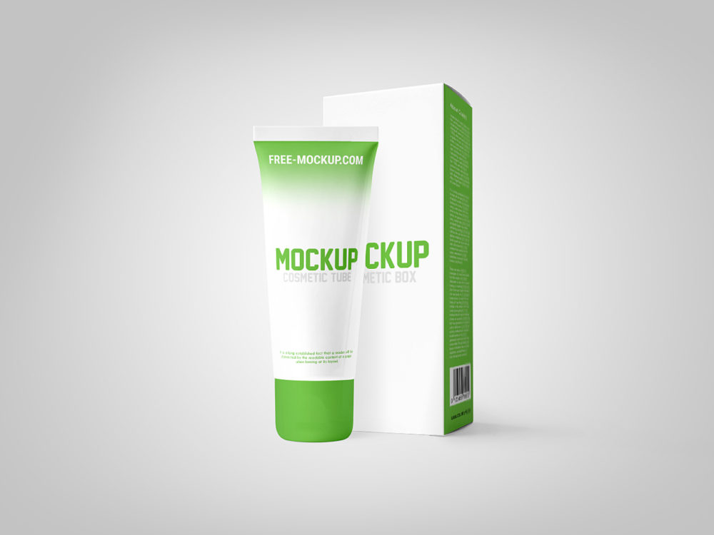 Cosmetic Tube with Box Mockup Free