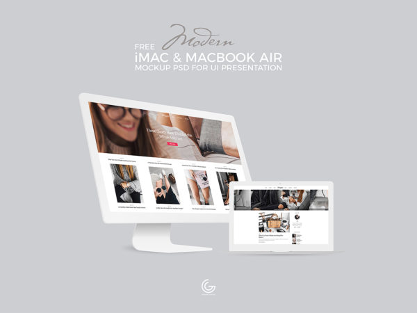 White iMac and MacBook Mockup UI Presentation