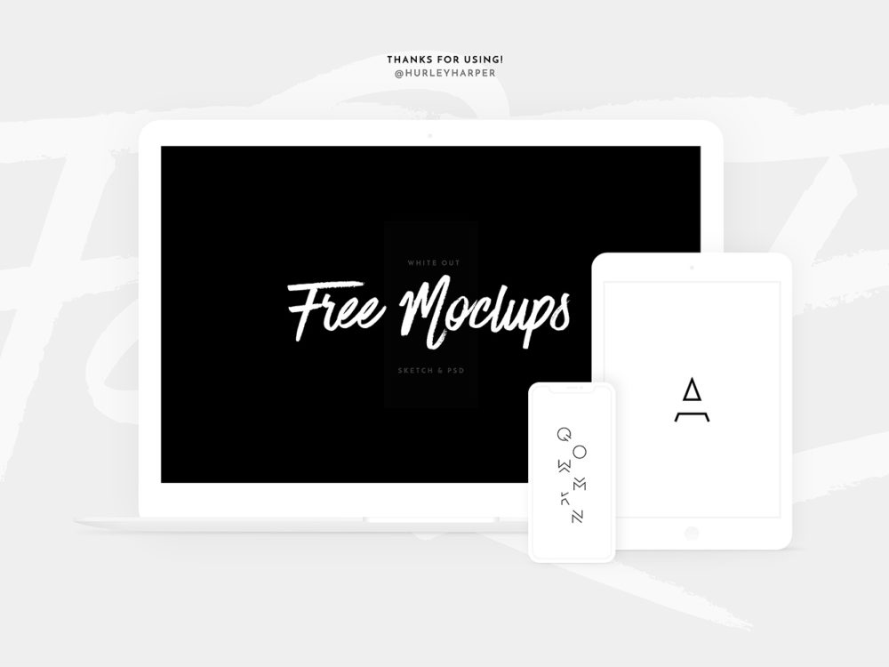 Free White Devices Mockups Sketch and PSD