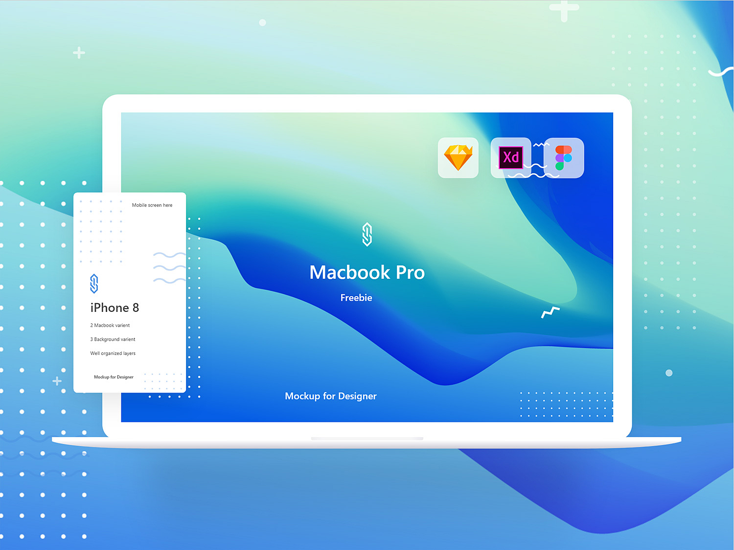 MacBook Pro Mockup Freebie. XD Sketch and Figma 01