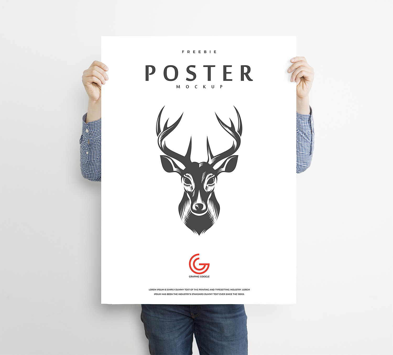 Man Holding Advertisement Poster Mockup | Free Mockup