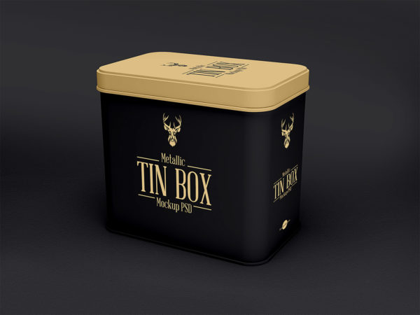 Metallic Tin Box Mockup PSD