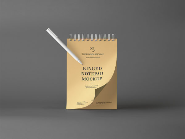 Ringed Notepad Mockup Free