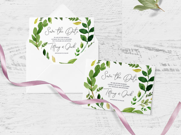 Wedding Invitation Card and Envelope Mockup