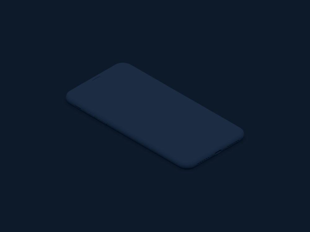 iPhone X Isometric Mockup Free Clay