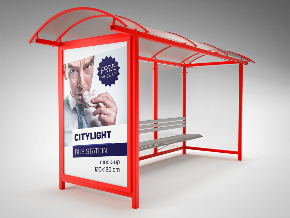 Bus Stop City Light Free Mockup