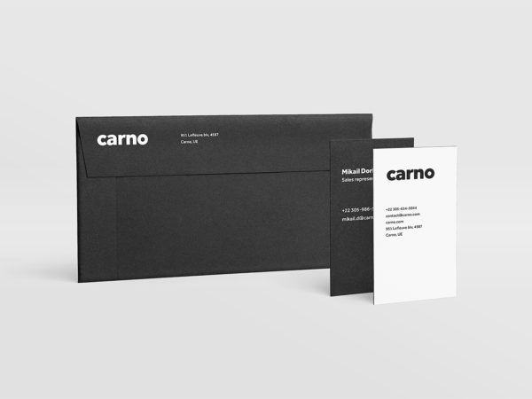 Envelope DL and business card 3.5x2 in mockup