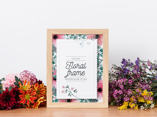 Frame Mockup Between Flowers
