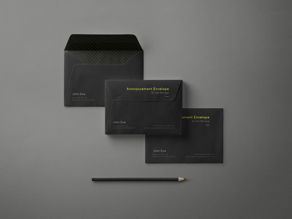 Free Black Envelope Mockup Set A6
