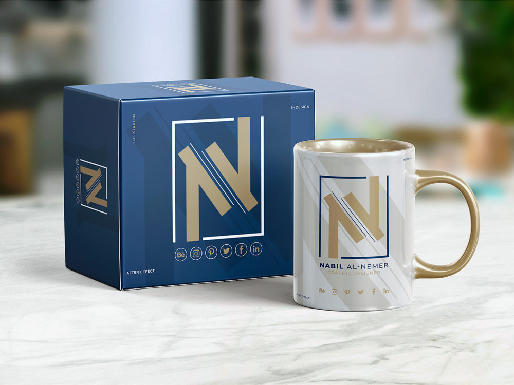 Free Cup with Box Packaging Mockup