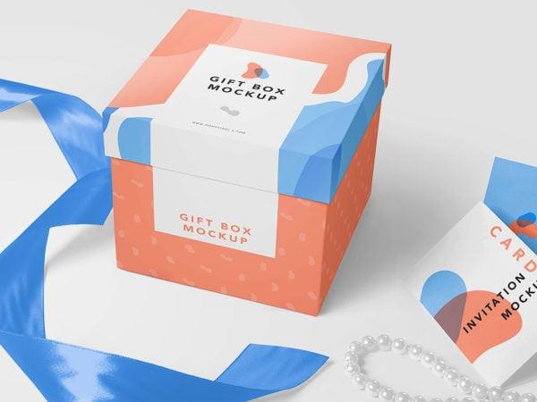 Free Gift Box Mockup PSD
