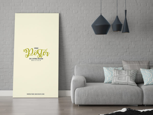 Free Poster in Living Room Mockup