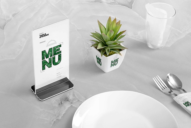 Free Table Menu Mockup Scene  Free Mockup