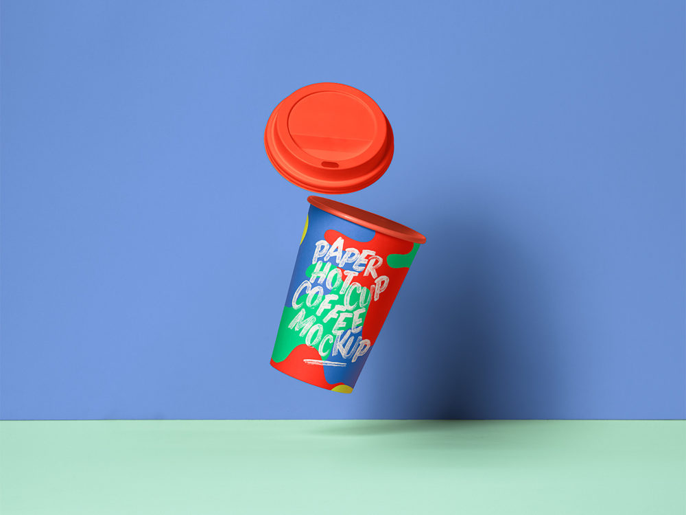 Gravity Paper Hot Cup Mockup PSD