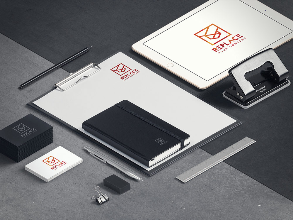 Isometric stationery mockup free