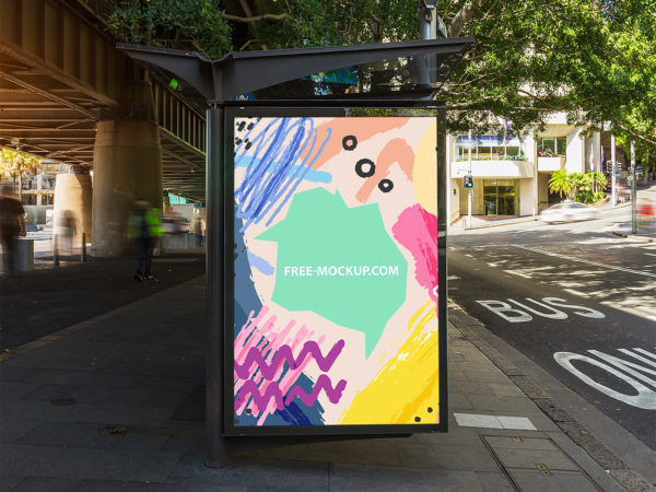 Outdoor Bus Stop Advertisement Vertical Billboard Poster Mockup